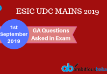 GA Questions asked in ESIC UDC