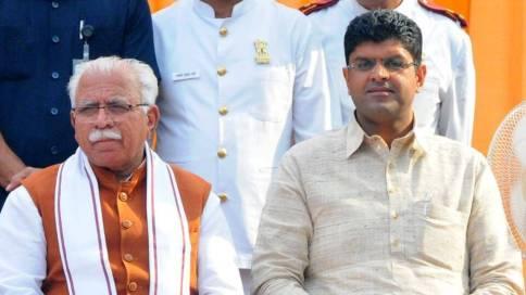 Manohar Lal Khattar oath as Haryana CM and Dushyant Chautala take oath as deputy CM