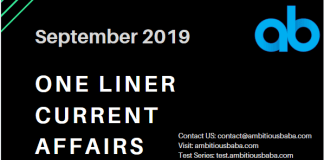One Liner Current Affairs september 2019