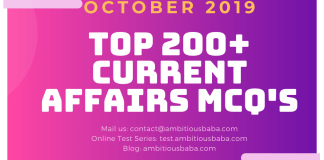 Top 200+ Current affairs MCQ