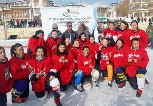 Ladakh won 7th National Ice Hockey Championship Women trophy