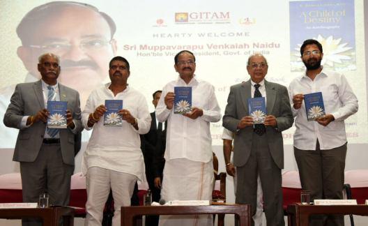 "Venkaiah Naidu release ""A Child of Destiny"": An Autobiography by Prof. Ramakrishna Rao"