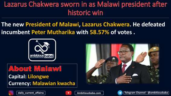 Lazarus Chakwera sworn in as Malawi president after historic win