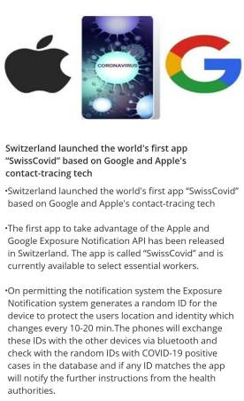 "Switzerland launched the world's first app ""SwissCovid"" based on Google and Apple's contact-tracing tech"