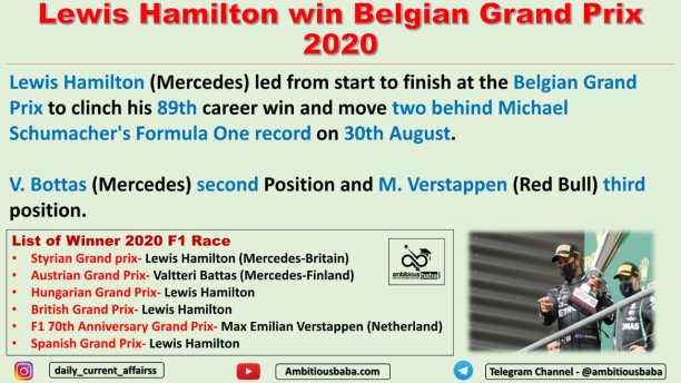 Lewis Hamilton win Belgian Grand Prix 2020
