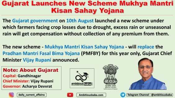 Gujarat Launches New Scheme Mukhya Mantri Kisan Sahay Yojana