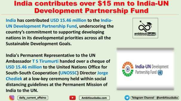 India contributes over $15 mn to India-UN Development Partnership Fund