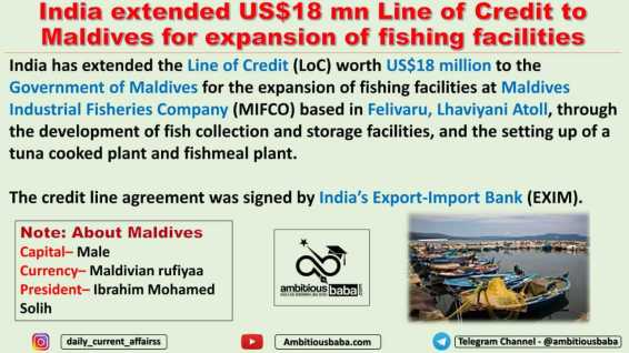 India extended US$18 mn Line of Credit to Maldives for expansion of fishing facilities