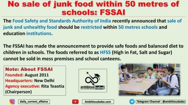 No sale of junk food within 50 metres of schools: FSSAI