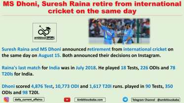 MS Dhoni, Suresh Raina retire from international cricket on the same day