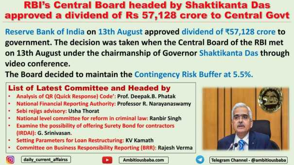 RBI's Central Board headed by Shaktikanta Das approved a dividend of Rs 57,128 crore to Central Govt