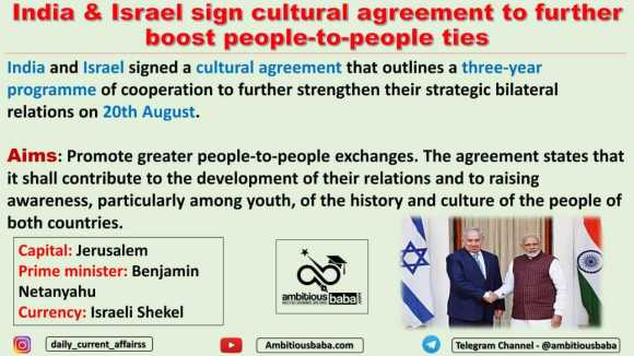 India & Israel sign cultural agreement to further boost people-to-people ties