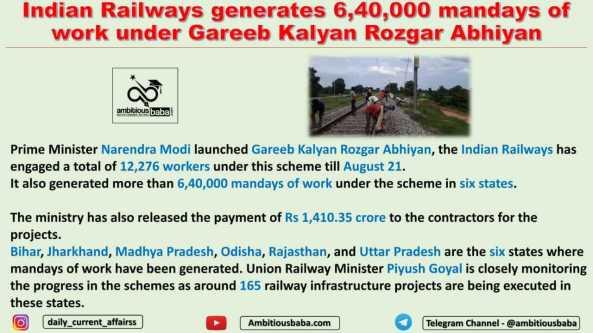 Indian Railways generates 6,40,000 mandays of work under Gareeb Kalyan Rozgar Abhiyan