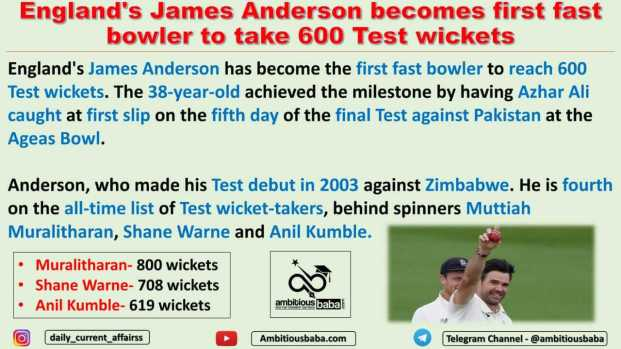 England's James Anderson becomes first fast bowler to take 600 Test wickets