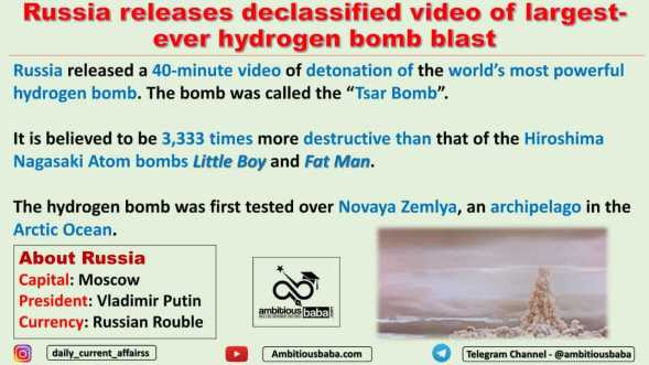 Russia releases declassified video of largest-ever hydrogen bomb blast