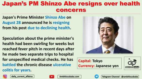 Japan's PM Shinzo Abe resigns over health concerns