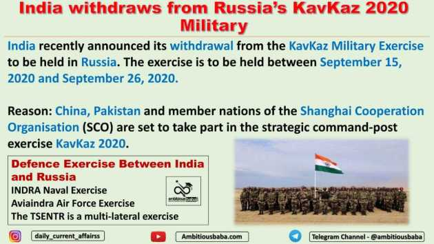 India withdraws from Russia's KavKaz 2020 Military