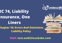 III Exam |IC 74, Liability Insurance |One Liners |Errors And Omissions Liability Policy| Chapter 10