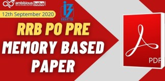 IBPS RRB PO Pre Memory based paper pdf 2020