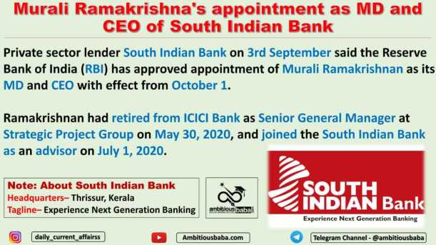 Murali Ramakrishna's appointment as MD and CEO of South Indian Bank