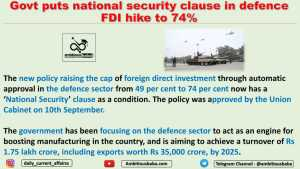 Govt puts national security clause in defence FDI hike to 74%