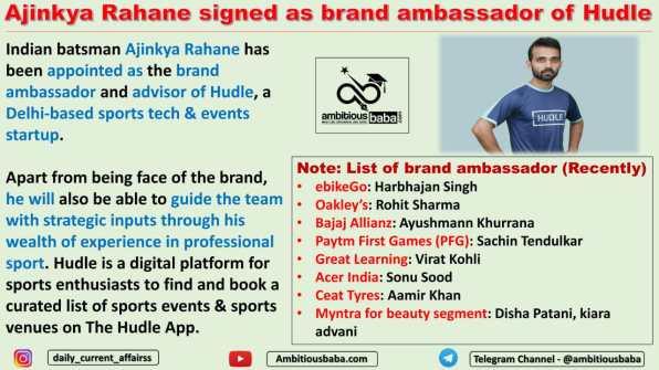 Ajinkya Rahane signed as brand ambassador of Hudle