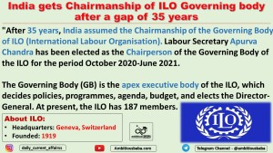 India gets Chairmanship of ILO Governing body after a gap of 35 years