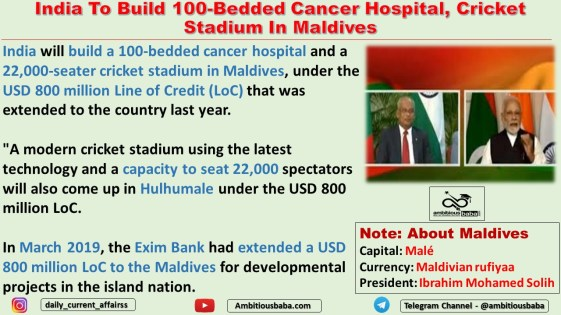 India To Build 100-Bedded Cancer Hospital, Cricket Stadium In Maldives