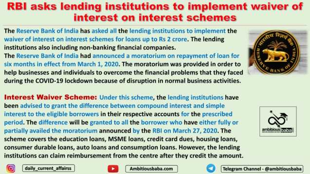 RBI asks lending institutions to implement waiver of interest on interest schemes