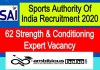 SAI for Strength & Conditioning Expert Recruitment 2020 : 62 Post check here