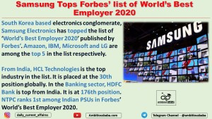 Samsung Tops Forbes' list of World's Best Employer 2020