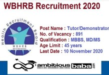 WBHRB for Tutor, Demonstrator Recruitment 2020 : 891 Post check here