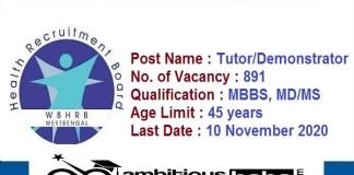WBHRB for Tutor, Demonstrator Recruitment 2020 : 891 Post check here