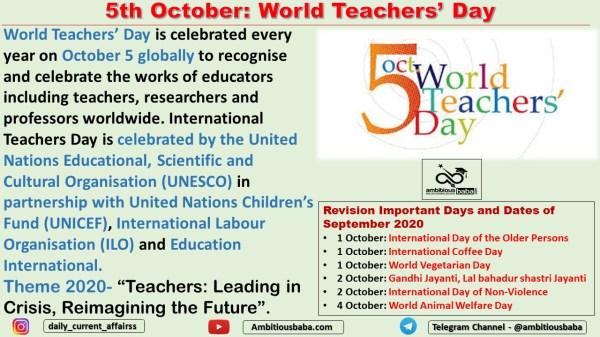 5th October: World Teachers' Day