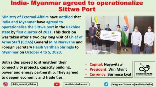 India- Myanmar agreed to operationalize Sittwe Port
