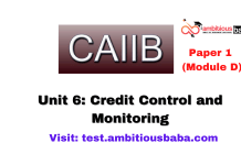 Credit Control and Monitoring : CAIIB