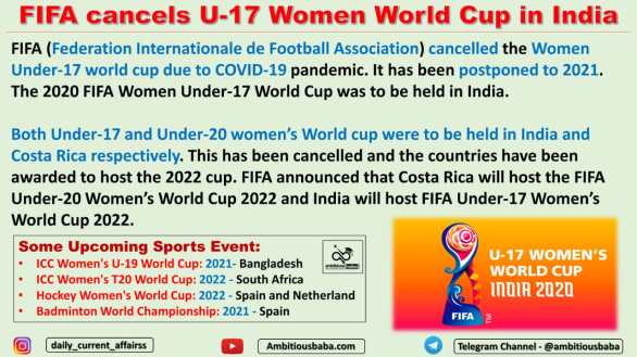 FIFA cancels U-17 Women World Cup in India