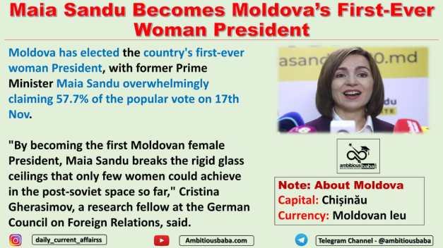 Maia Sandu Becomes Moldova's First-Ever Woman President
