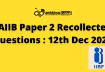 JAIIB paper 2 Recollected questions : 12th Dec 2020