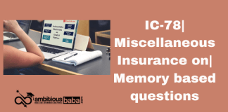 IC-78| Miscellaneous Insurance on| Memory based questions