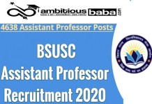 BSUSC for Assistant Professor Recruitment 2020 : 4638 Post check here