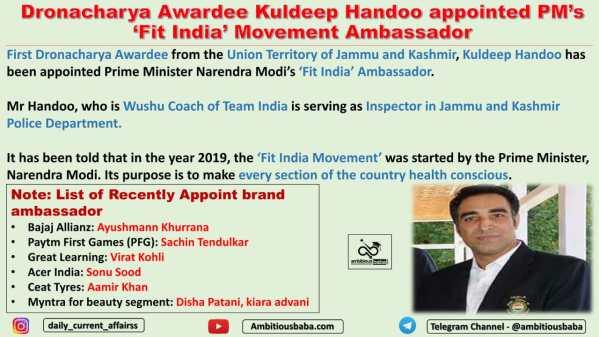 Dronacharya Awardee Kuldeep Handoo appointed PM's 'Fit India' Movement Ambassador