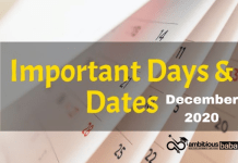 List of Important Day December 2020