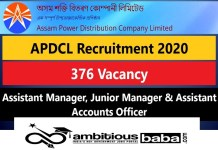 APDCL for Manager, Accounts Officer Recruitment 2020 : 376 Post check here