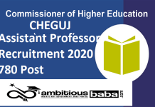 Education Commissioner Gujarat for Assistant Professors Recruitment 2020 : 780 Post