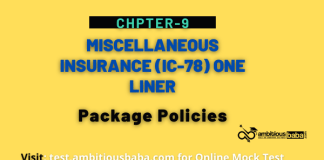 PARA 13.2 IC 78, Miscellaneous Insurance One Liner, Chapter-9: Package Policies