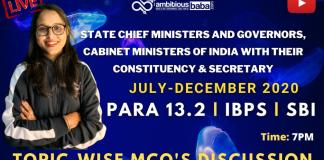 List of CM, Governors and Minister : Download PDF