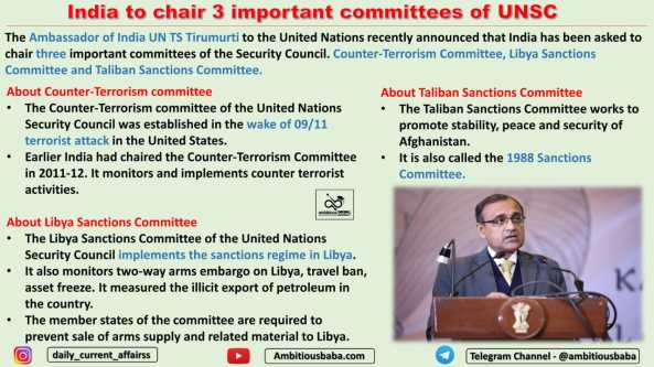 India to chair 3 important committees of UNSC
