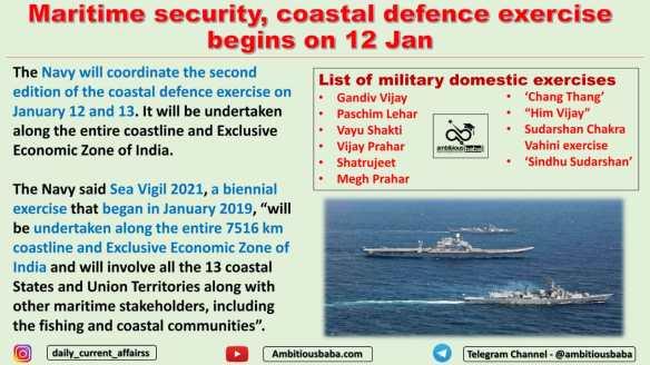 Maritime security, coastal defence exercise begins on 12 Jan