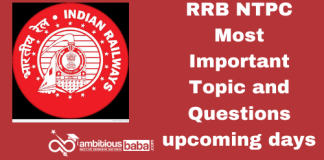 RRB NTPC Most Important topic and Questions upcoming days